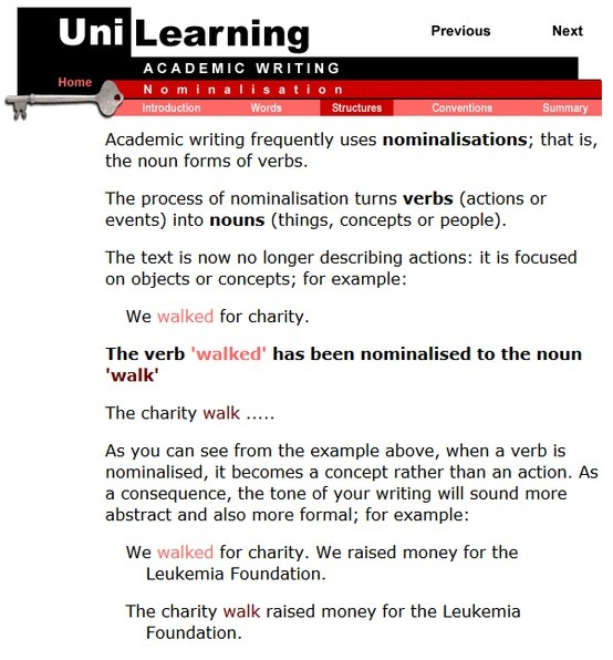 Academic writing frequently uses nominalisations; that is, the noun forms of verbs.  The process of nominalisation turns verbs (actions or events) into nouns (things, concepts or people).  The text is now no longer describing actions: it is focused on objects or concepts