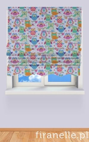 roman blind with owls for girls, owl printed fabric
