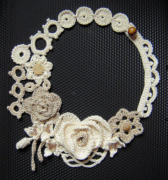 Ivory and light beige flowers crochet necklace . by agatsknitting