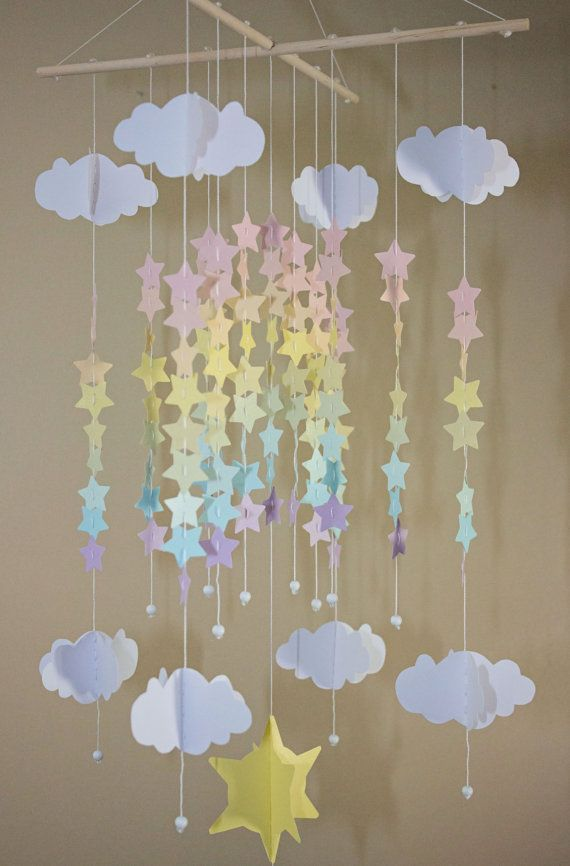 Pastel Rainbow Stars and Clouds Baby Mobile