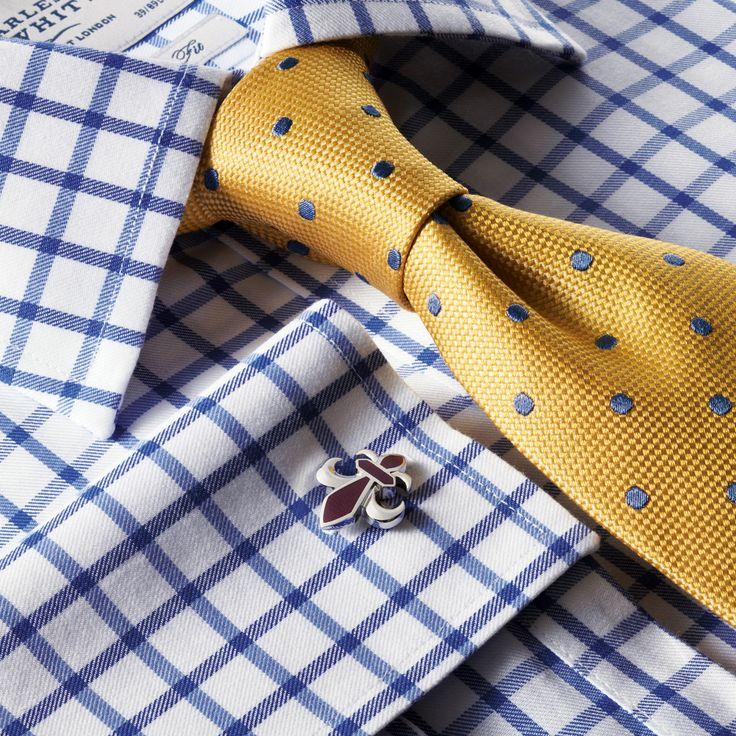 Royal twill grid check non-iron Slim fit shirt | Men's formal shirts from Charles Tyrwhitt, Jermyn Street, London