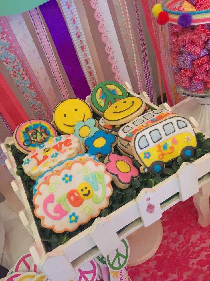 Cookies at a hippie chic birthday party! See more party ideas at CatchMyParty.com!