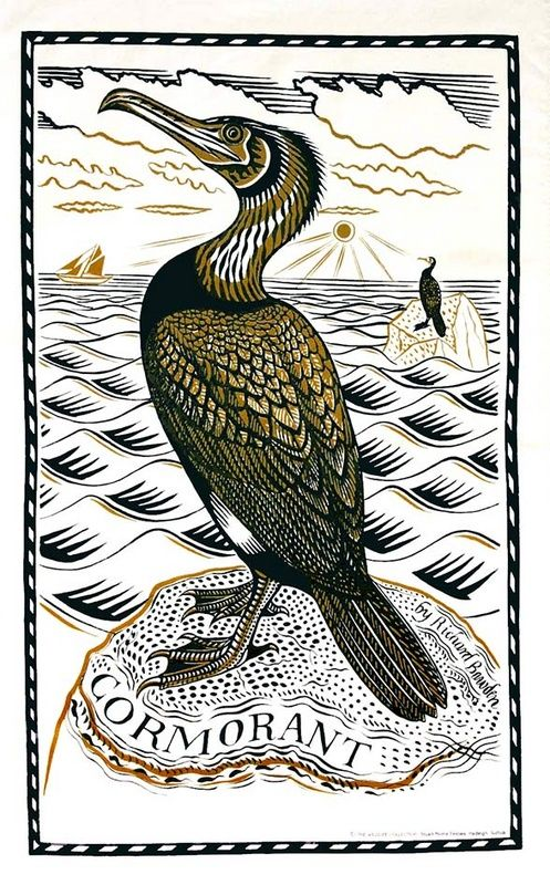 Cormorant Tea Towel by Richard Bawden