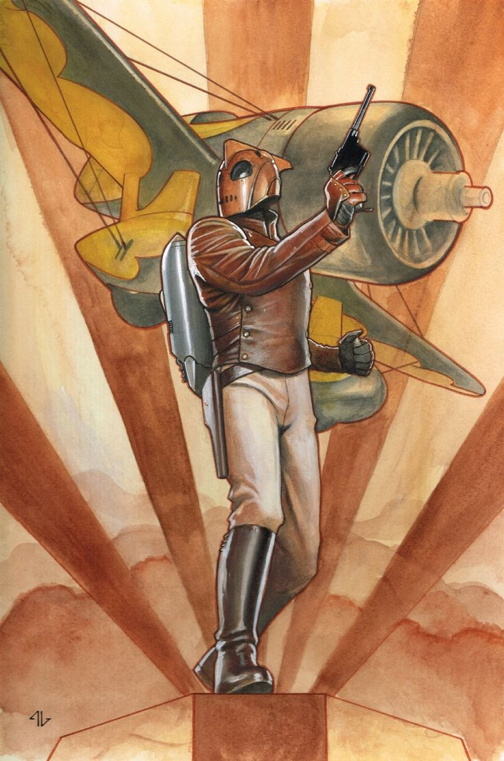 Adi Granov Illustration | Rocketeer commission from Toronto. First time I've done something this finished at a con. I spent about half a day at the con, and another 4 hours in the hotel room on this, using pencils, watercolour and gouache.