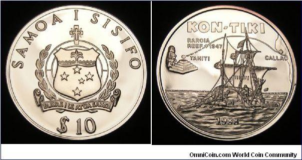 1988 Samoa 10 Tala, 0.999 Silver, Proof. Comemmorates the voyage of the Kon-Tiki, a balsa log raft sailed from South America to Tahiti in 1947 by Thor Heyerdahl.