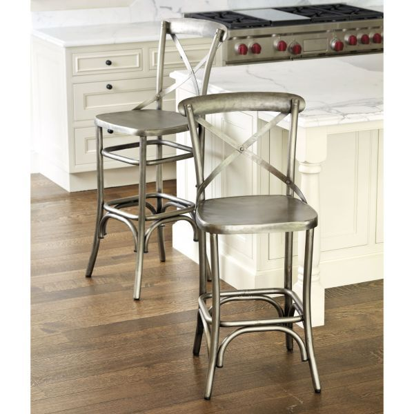 Constance Metal Barstool In Aged Nickel Via Ballard