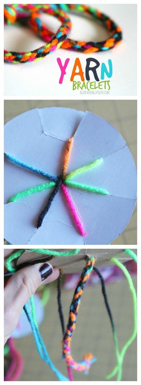 yarn bracelet made with cardboard