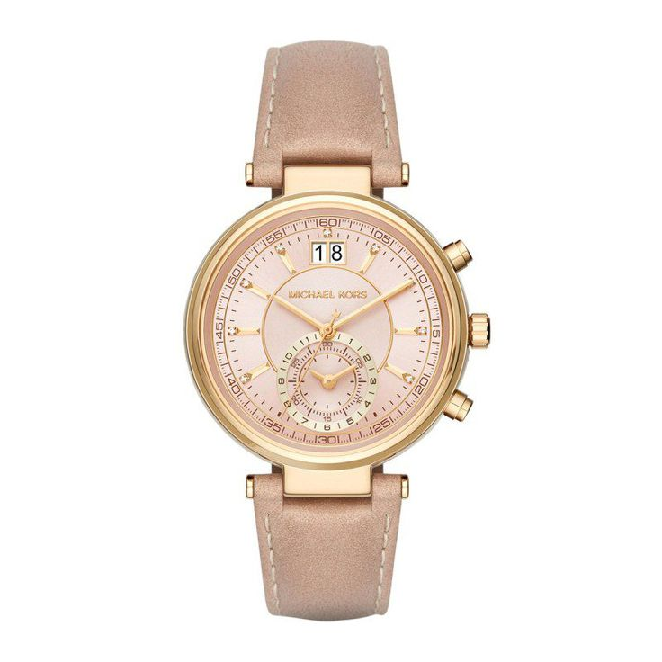 Michael Kors Michael Kors Armbanduhr – Ladies Sawyer Chronograph Gold Leather Beige – in gold, beige – Armbanduhr für Damen