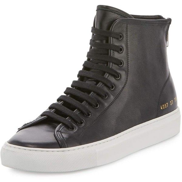 Common Projects Tournament Leather High-Top Sneaker ($415) ❤ liked on Polyvore featuring shoes, sneakers, black, leather lace up flats, lace up flats, leather high top sneakers, black leather flats and leather sneakers