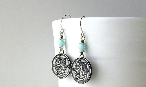 Finland Coin earrings Coin jewelry 1950 Swarovski