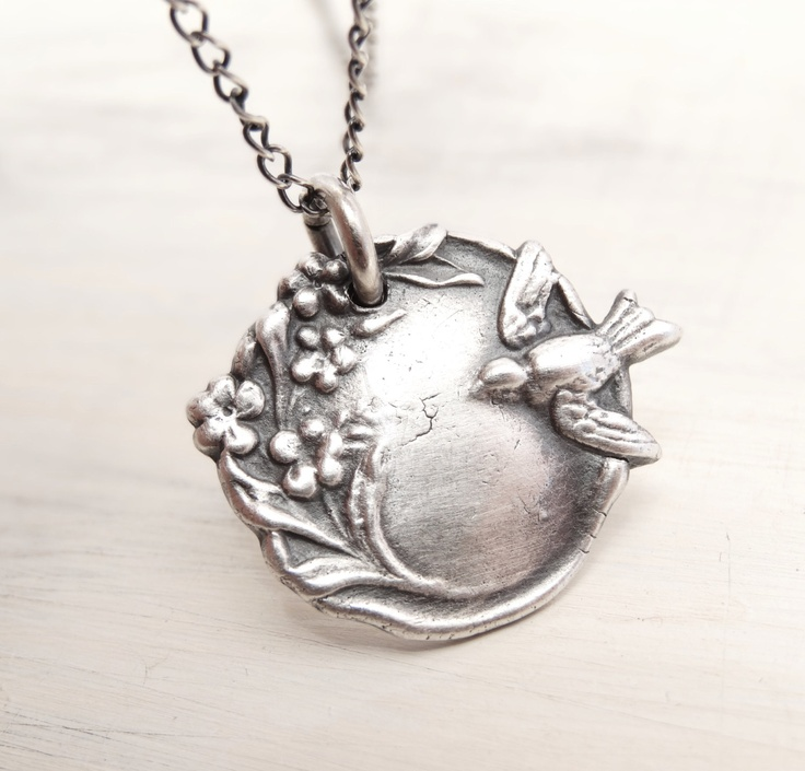 of bluebirdss bird necklace blossom necklace pmc