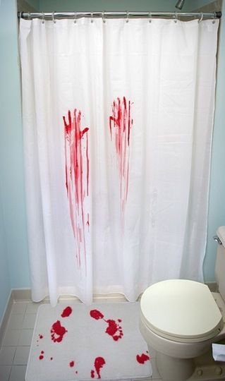 scary...: Idea, Guest Bathroom, Horror Movies, Halloween Decoration, Showers Curtains, Scary Halloween, Bath Mats, Halloween Party, Bathroom Decoration