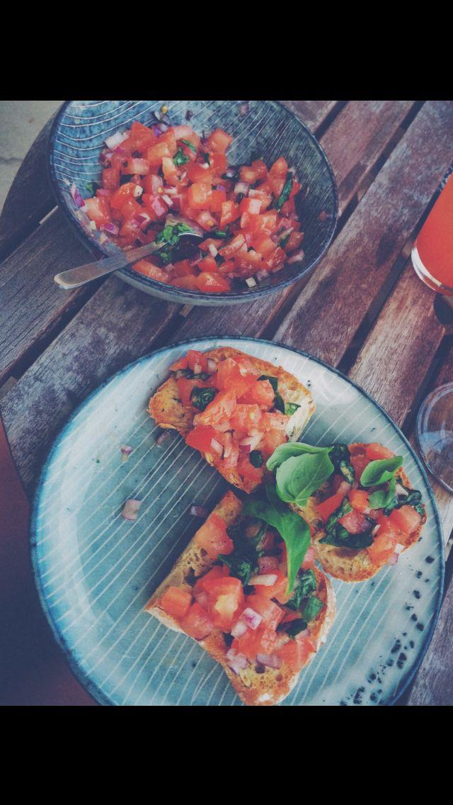 Bruschetta . Ciabatta garlic tomato basil leek