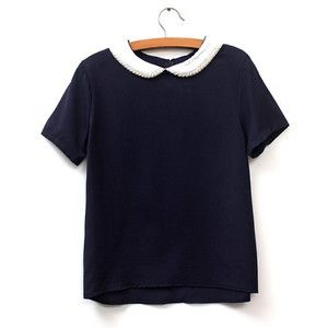 Preppy Style Peter Pan Collar Short Sleeve Beaded Color Block Women s Blouse
