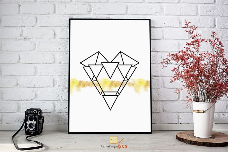 Wall Art Prints,Printable Art,Printables,Digital Prints,Poster,Geometric Art,Scandinavian,Gift For Women,Best Selling Items, Heart Prints