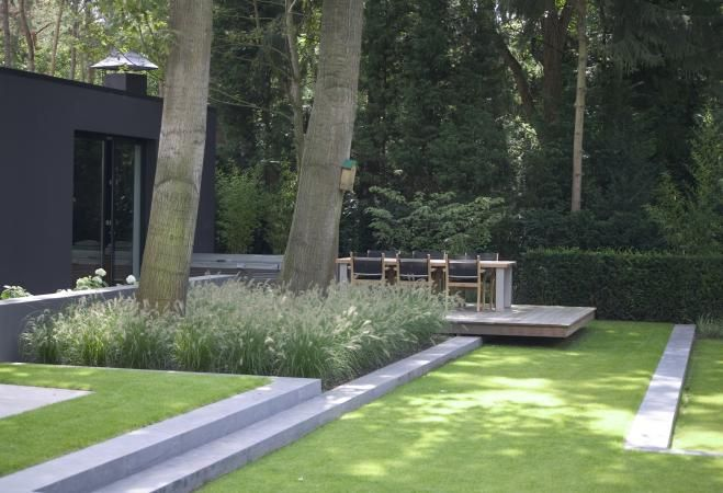 formal garden, stone stairs, deck overhang, clean lines, modern landscape
