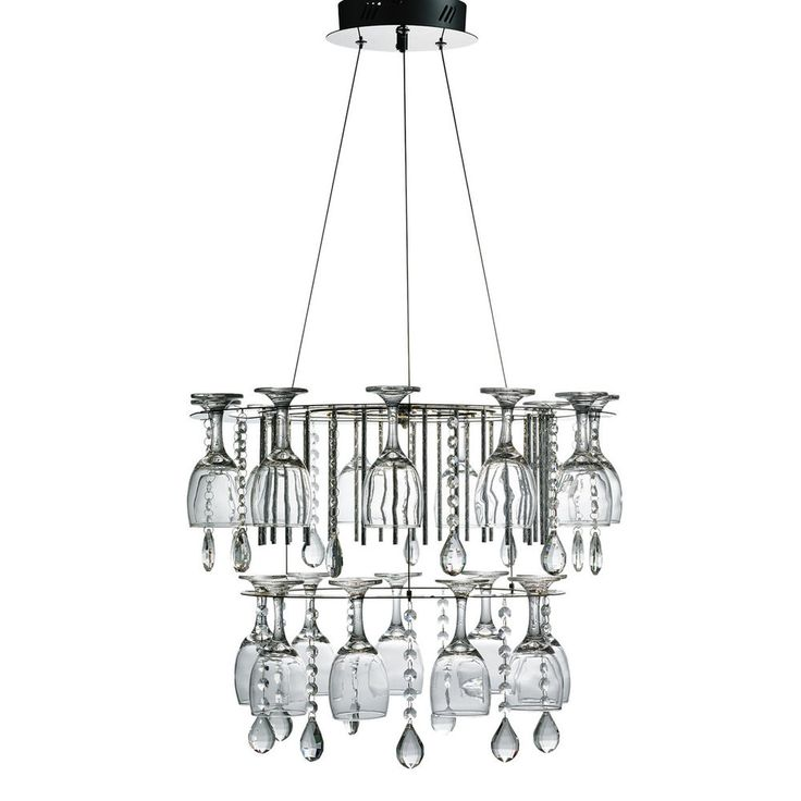Vino 2 Tier LED Crystal Ceiling Pendant Chandelier Fitting With Wine Glasses New #Searchlight