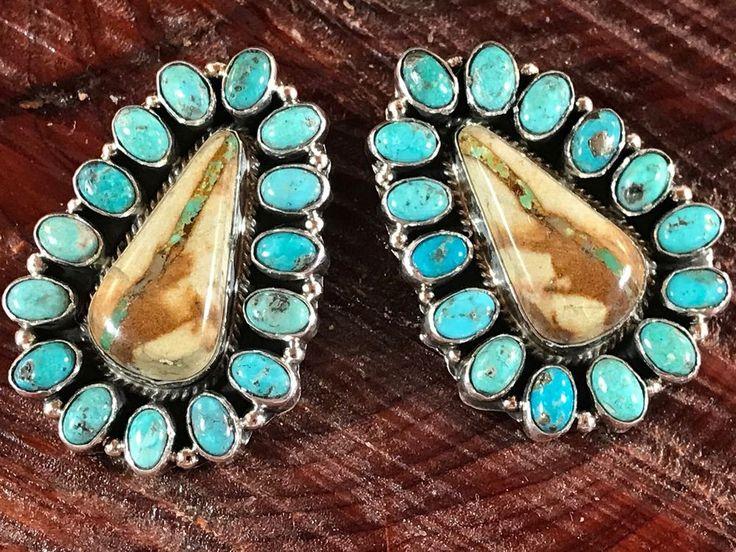 NAVAJO~GREEN ROYSTON RIBBON~BLUE KINGMAN ~CLUSTER~ EARRINGS ~GERALDINE JAMES  | eBay