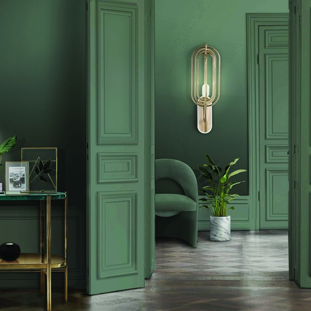 A fresh and serene green entryway, it breathes sophistication and elegance, with exquisite gold details of Turner table lamp and Turner Wall lamp from @delightfulll  | www.bocadolobo.com #bocadolobo #luxuryfurniture #exclusivedesign #interiodesign #designideas