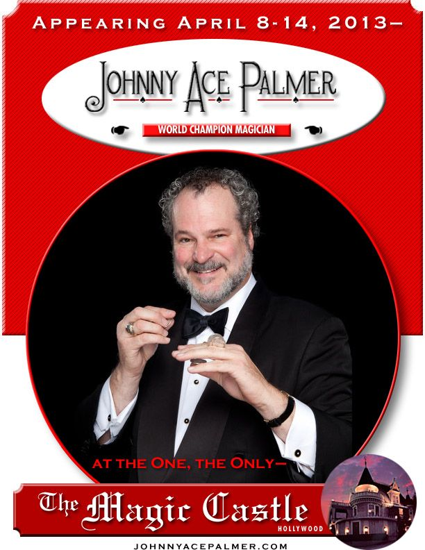"""This art was designed by me for an e-blast to promote one of Johnny's much sought after performance weeks at the Magic Castle in Hollywood. Decades ago, I designed Johnny's custom name font, basing key characters like the """"J"""" from the joker, and the """"P"""" on the """"B"""" in """"Bicycle"""" on Bicycle® Playing Cards' classic lettering."""