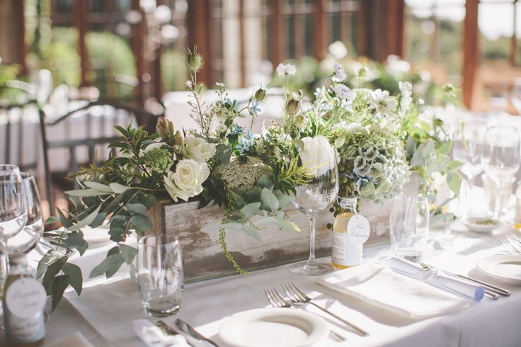 wooden flower boxes add a rustic edge to a classic wedding centerpiece | coralee estelle photography | via: style me pretty