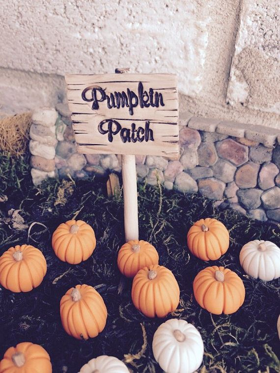 Miniature pumpkin patch sign planter stake by fairysmallthings