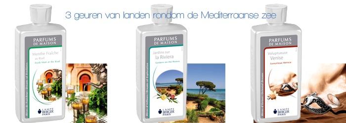 3 nieuwe geuren van landen rondom de Mediterraanse Zee van Lampe Berger.  Jardins sur la Riviera - Gardens on the Riviera & Luxerious Venice. Nu bij Iene Miene Mud in Middenwaard Heerhugowaard.