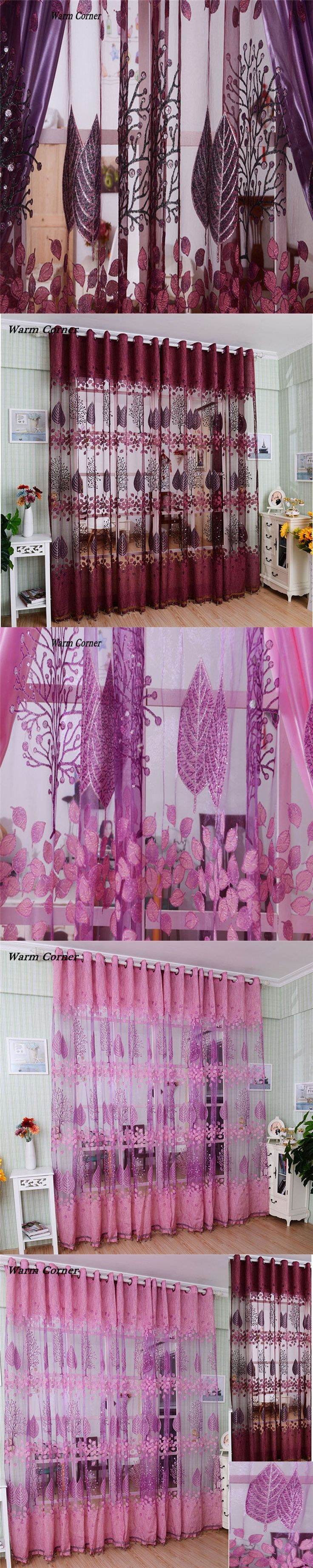 2017 LM Leaf Hollow Window Screens Door Balcony Curtain Panel Sheer Cover  Free Shipping Sept 01