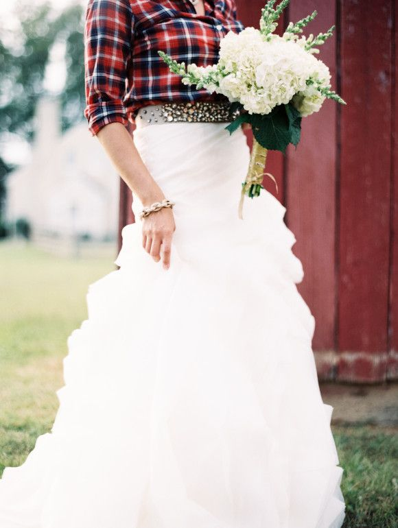 plaid shirt with wedding skirt - canadian wedding inspiration. Styling tips for your bridals ~ Laura Gordon Photography