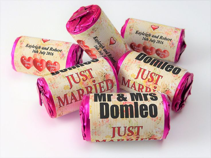 Personalised Love Heart Sweets Wedding Vintage Favours Select From 10 To 100 Rolls