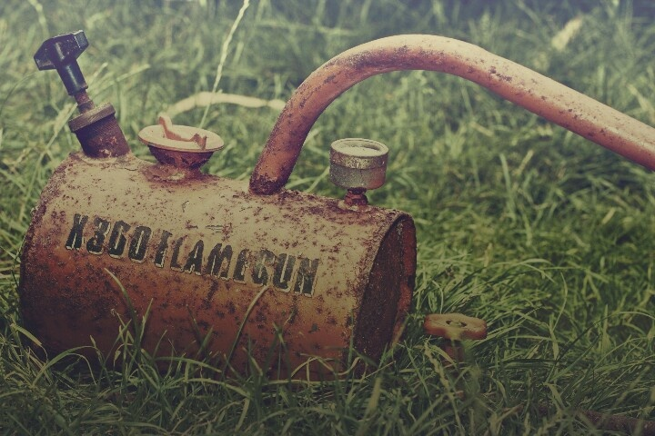 Just a rusty old flamegun I gave a vintage look to in Photoshop using some actions I made myself.
