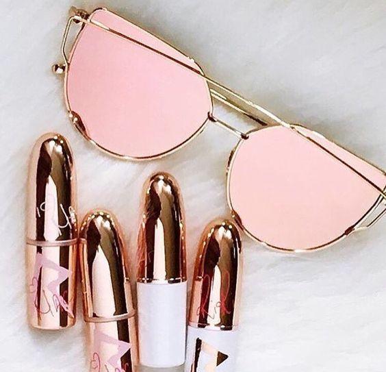 Rose gold sunglasses | rose gold lipstick
