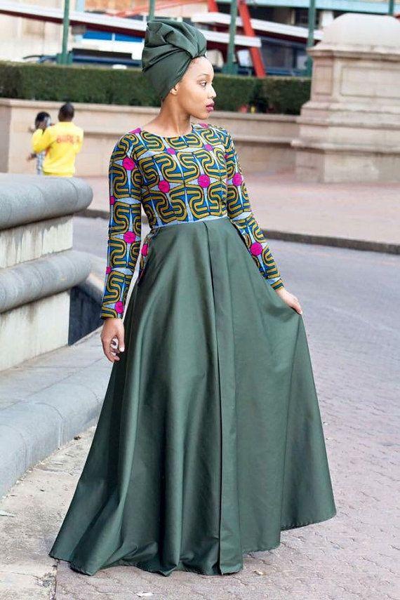 Army Green African Print Dress Ankara Dress By
