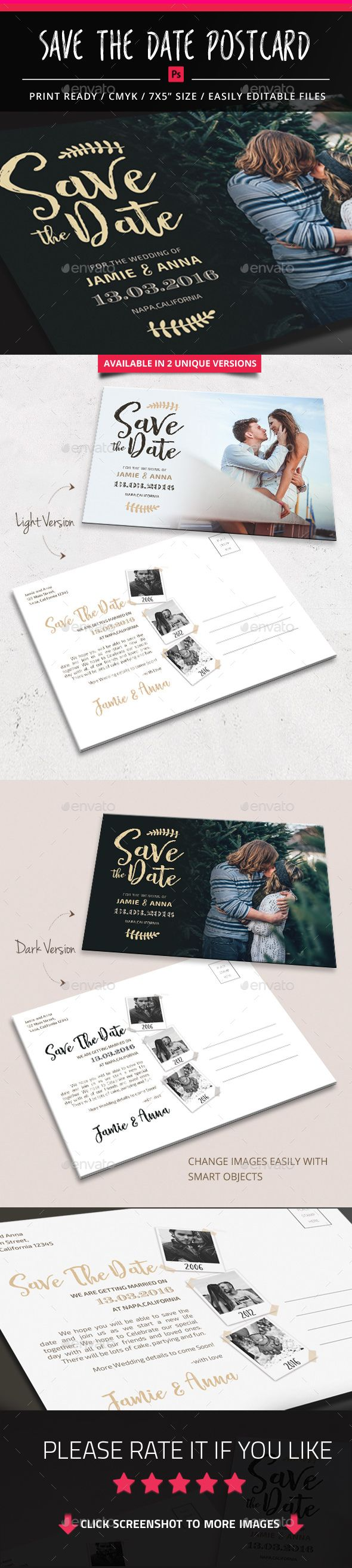 Save The Date Postcard Template PSD #design Download: http://graphicriver.net/item/save-the-date-postcard/14428760?ref=ksioks