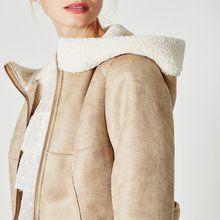 Manteau effet peau lainée Beige