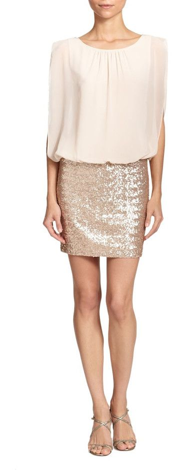 On SALE at 70% OFF! blouson sequined dress by Aidan Mattox. An airy chiffon top with a blouson finish meets a sequin-adorned mini skirt in this chic, party-worthy look. Scoop ne...