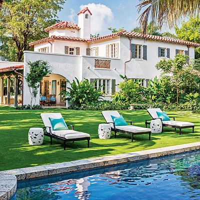 The Pool - Magnificent Miami Garden - Southern Living - Spanish style home