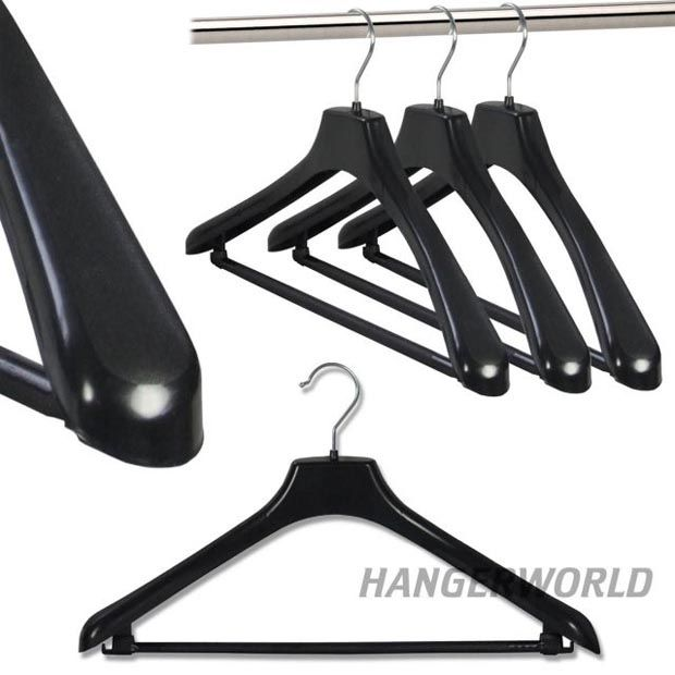 Perfect for your cosy jumpers this winter!  Black Plastic Suit Or Jacket Hangers With Trouser Bar - 45cm (Medium)