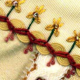 An example of 'Zigzag Chain Stitch' used as a seam treatment on a crazy quilt block. Place each loop at right angles to the previous loop to create the zigzag line.