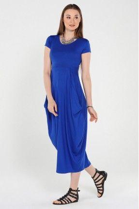 Mavi Şalvar Etekli Elbise