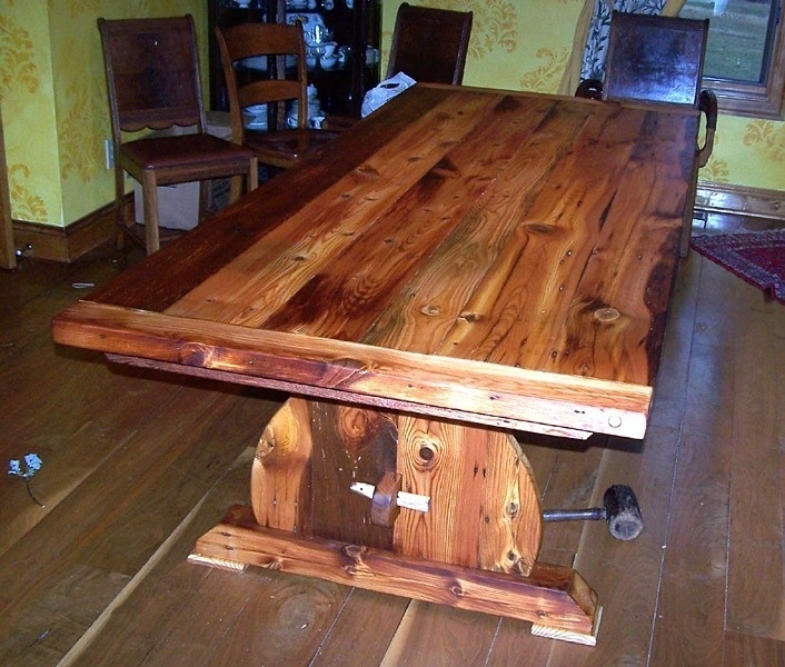 Custom Made Bavarian Trestle Table from Reclaimed Heart Pine ...