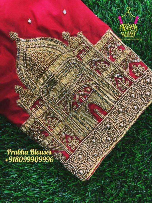 9006e3d4f85227 21.Taj Mahal design in bridal blouse   40 Heavy Maggam work Bridal ...
