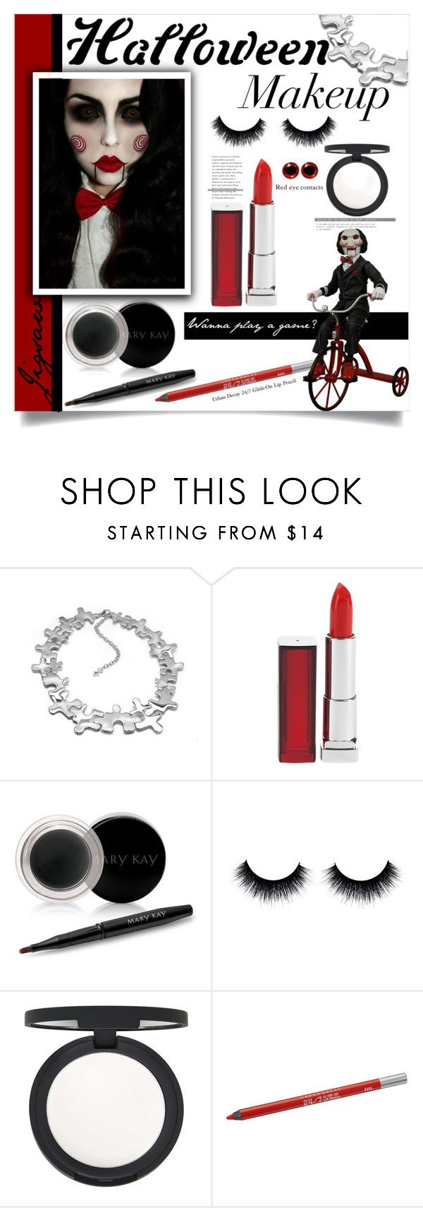 """""""Halloween makeup: Jigsaw 10/11/15"""" by ambacasa ❤ liked on Polyvore featuring LucyQ Designs, Maybelline, Mary Kay, Topshop, Urban Decay, women's clothing, women's fashion, women, female and woman"""