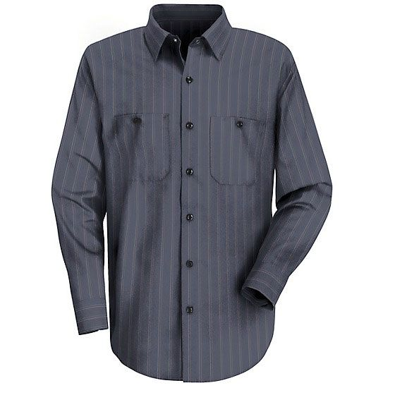 Red Kap SP10 Men's Industrial Stripe Poplin Work Shirt – Long Sleeve – Blue with Brown/White Stripe