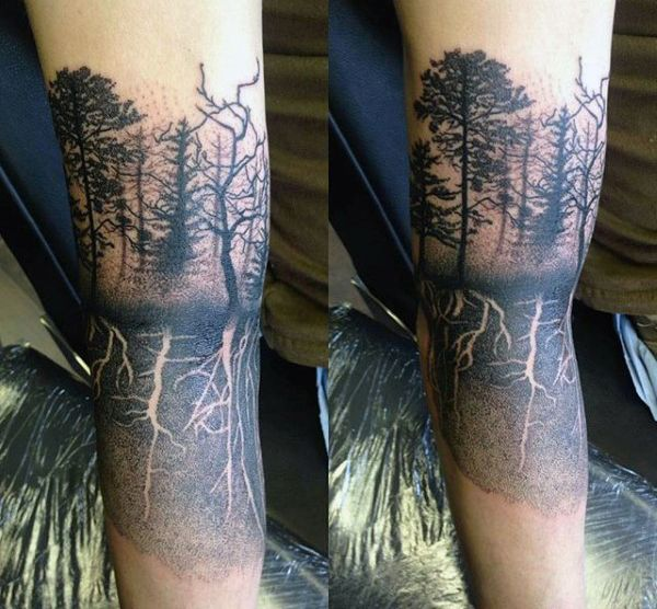 Cool Mens Tree Roots Quarter Sleeve Tattoo