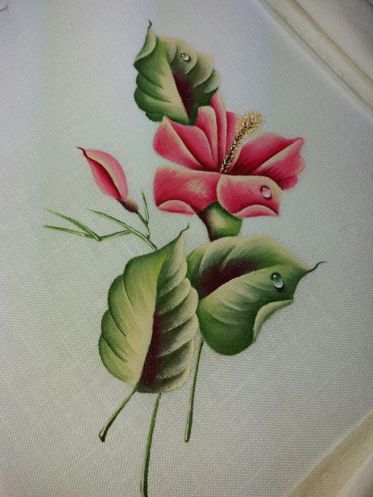 Hibiscus pittura su lino
