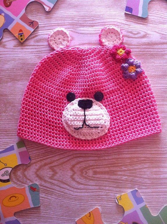 Cappellino Primaverile bambina orsetto rosa all'uncinetto - Baby crochet hat Spring bear by LaLunadiLanabySimo on Etsy