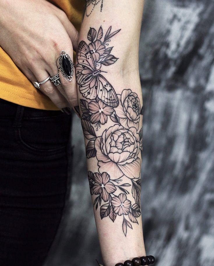Floral Arm Butterfly Tattoo Floral Tattoo Sleeve Half Sleeve Tattoo Upper Half Sleeve Tattoos