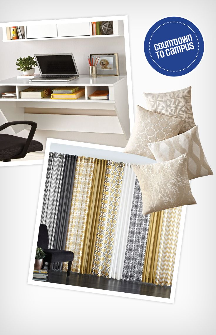 Simple and lovely. Decorate your room this school year with a floating desk, patterned pillows and semi sheer drapes