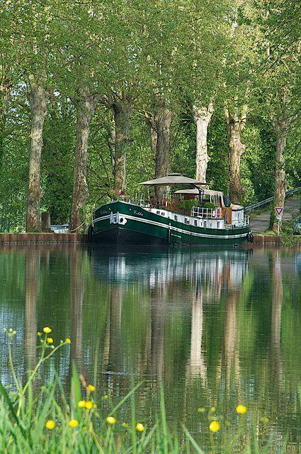 Barge cruising the Canal du Midi, France